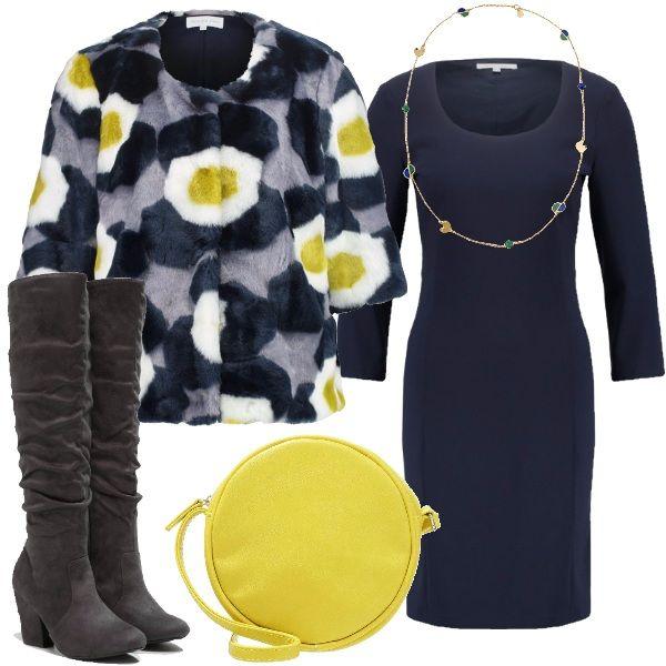 Outfit di Patrizia Pepe: il classico tubino blu corto, con maniche a 3/4, è indossato con una giacca in pelliccia ecologica colorata. Completano il look gli stivali con tacco largo e punta tonda, una collana in metallo e una tracollina che riprende le tonalità del giallo della giacca.