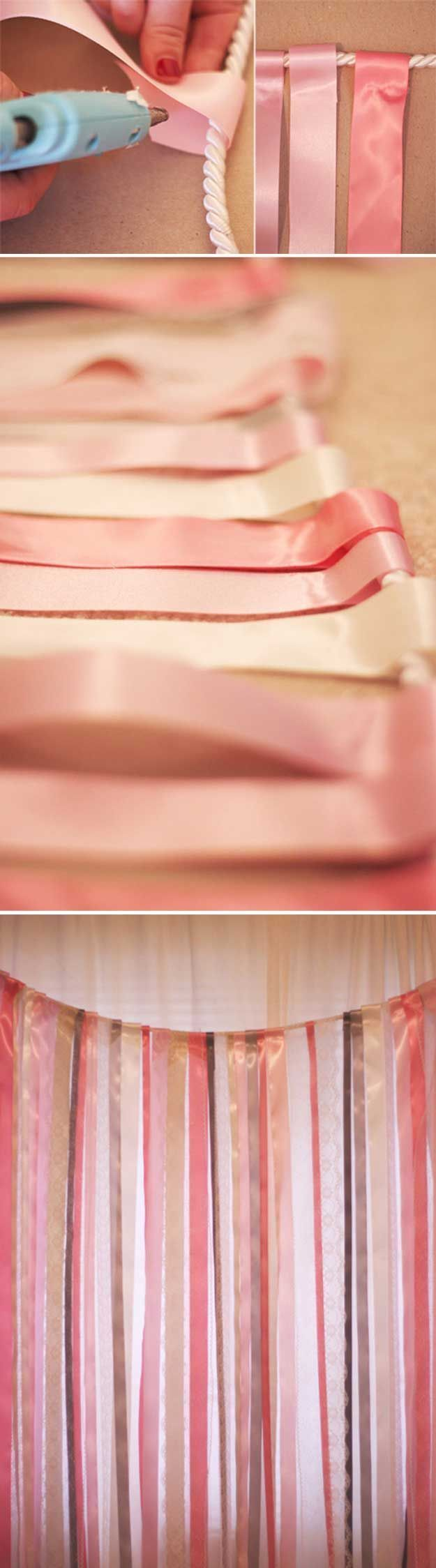 Simple DIY Photo Booth Backdrop Tutorial | Ribbon and Lace Backdrop by DIY Ready at diyready.com/...