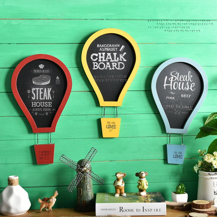 Europe Wood Colorful Fire Balloon Blackboard Parachute Message board Bar Shop Wall Hanging Decorations