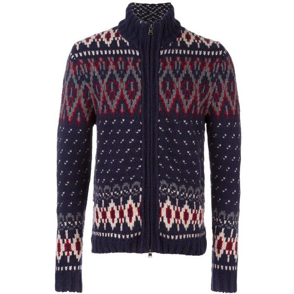 Woolrich zipped cardigan ($291) ❤ liked on Polyvore featuring men's fashion, men's clothing, men's sweaters, blue, mens zipper sweater, mens full zip sweater, mens cardigan sweaters, mens blue sweater and mens zip cardigan sweater