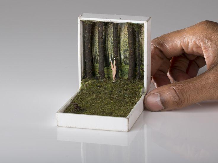 "Unexpected Scenes Hidden Inside Tiny Jewelry Boxes by Talwst - Der Stuhl. Die Puppe. Das Entartete. Das Genie Mixed Media 2013 2.5"" x 3"" x 3.25"""