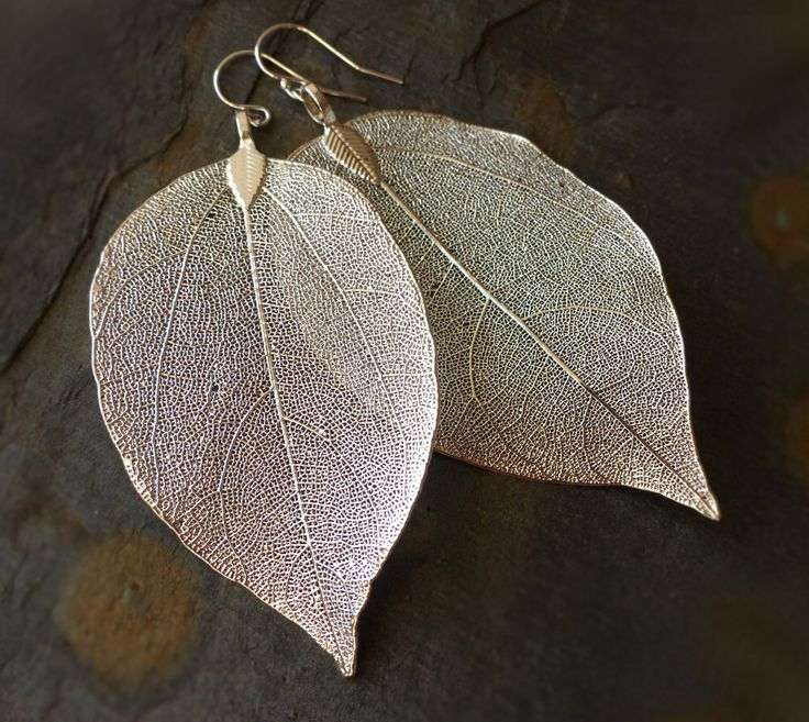 Real leaf earrings, silver dipped leaves, natural woodland jewelry by estherdobsonart on Etsy https://www.etsy.com/listing/248969269/real-leaf-earrings-silver-dipped-leaves