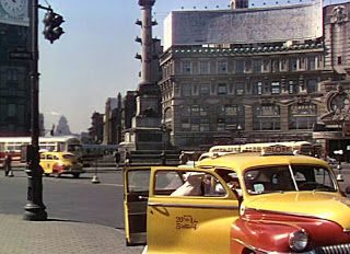 "Columbus Circle, NYC with The Majestic Theatre in the background. A clip from the 1949 movie musical ""On the Town"""