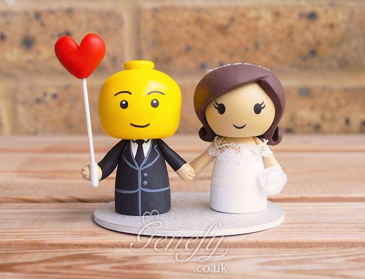Legoman Groom and Bride wedding cake topper by GenefyPlayground  https://www.facebook.com/genefyplayground