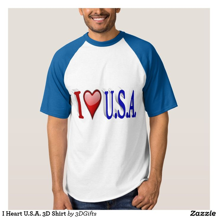 I Heart U.S.A. 3D Shirt #usa #zazzle #patriotic #shirt #gift