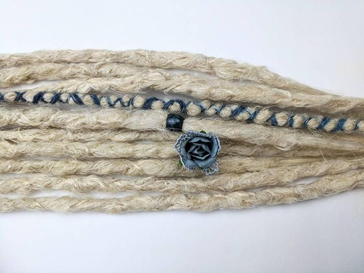 """Excited to share the latest addition to my #etsy shop: Ash blonde synthetic dreads. 10 SE dreadlock extensions, dreadlocks, knotty dreads ready to ship, 14-16"""" dusty blue rose bead and wrap #hair #dreadlockextensions #dreadlocks #dreads #dreadextensions #syntheticdreads #extensions #hairextensions http://etsy.me/2nN5tgr"""