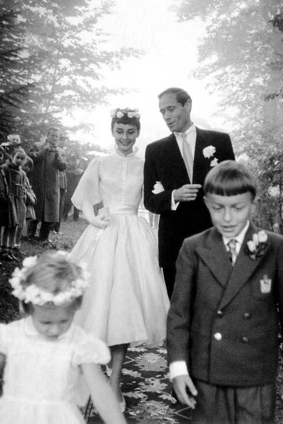 1954 wedding of actress Audrey Hepburn and Mel Ferrer