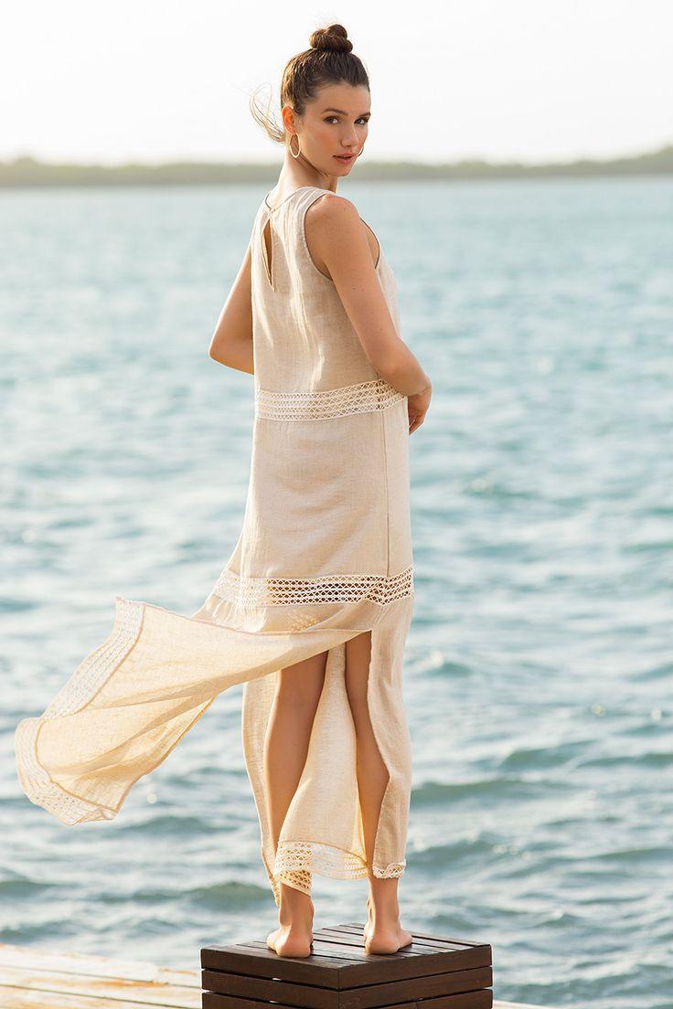 Linen Trimmed Maxi Dress / Shop Online at www.touche.com.co / Touche Swimwear Collection / Summer / Hailey Outland