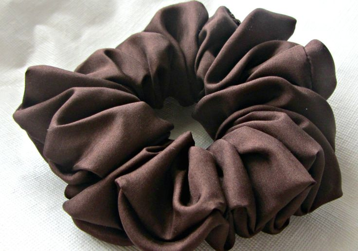 Silk Hair Scrunchie for Dark Brown Handmade  by Just Scrunchies are Stylish Women's Accessories and Meet Military Dress Code by JustScrunchies on Etsy