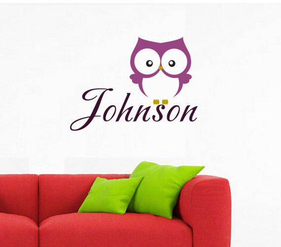 Personalized name wall decalnursery wall stickercute owl baby decalcustom name