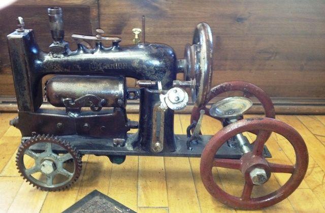 Repurposed Vintage Sewing Machine Steam Engine Tractor - Cool!!