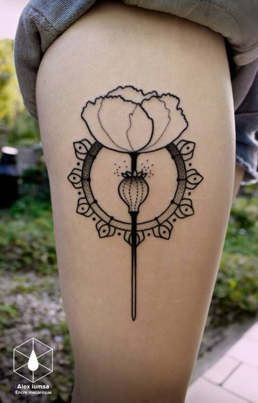 linework and dotwork poppy by Alex iumsa.   #tattoo  #ink
