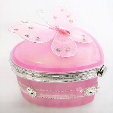 Pink Butterfly Jewelry Box