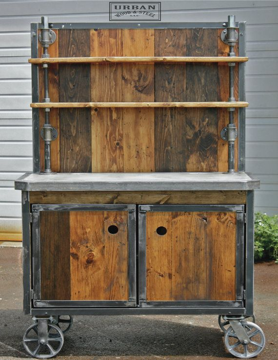 Awesome wood and steel combo bar cart. I think it looks kick ass. The BURLY. by Urban Wood and Steel.