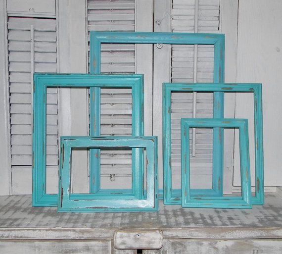 distressed frames 5 pc set aqua frames cottage shabby chic coastal decor on etsy 5600