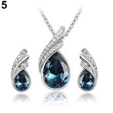Women Wedding Crystal Water Drop Leaves Earrings Necklace Romantic Luxury Jewelry Sets 8I6P(China (Mainland))