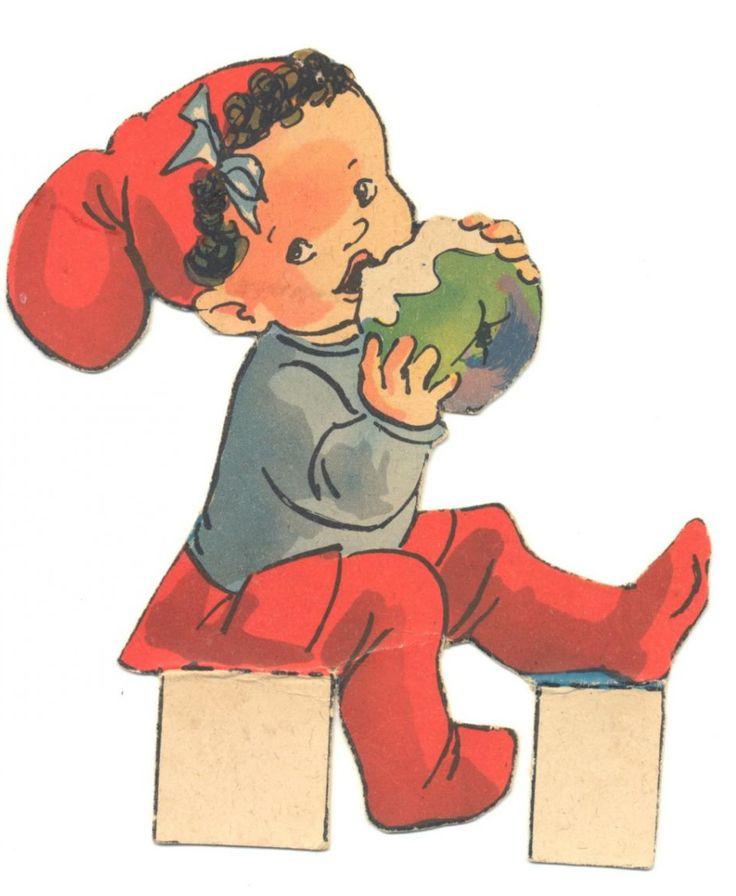 """A er til apple   A is for apple   >>>>>>>>>>>>>>> DANISH Kravle nisser   Syv nisser fra samme ark, som jeg vil tro repræsenterer ILLAS tidligste kravlenisse-streger. Arket har titlen """"Dekorationsnisser"""", ligesom adskillige andre af hen-des ark fra omkring 1950. ENGLISH Crawl gnome from ILLA's earliest kravle nisse {crawl pixie} Sheet titled """"decorative gnomes"""", like other how-to-sheets from the late 40s early 50s."""