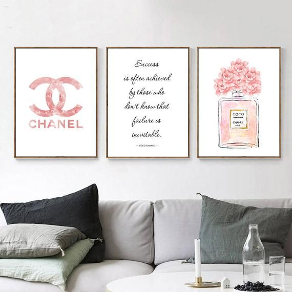 Inspired By Chanel Print Set Of 3 Prints Fashion Wall Art Set Of 3 Quote Pink Logo 78 Fashion Wall Art Chanel Wall Decor Chanel Wall Art