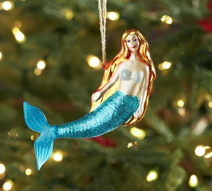 Pottery Barn Mermaid Mercury Glass Ornament Christmas