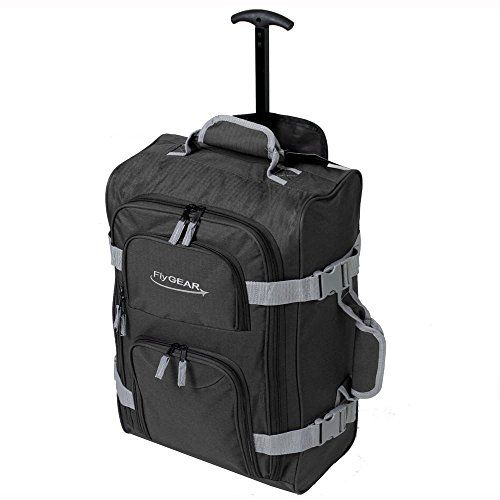 From 10.99 Lightweight Cabin Approved Wheeled Hand Luggage Trolley Travel Bag Black