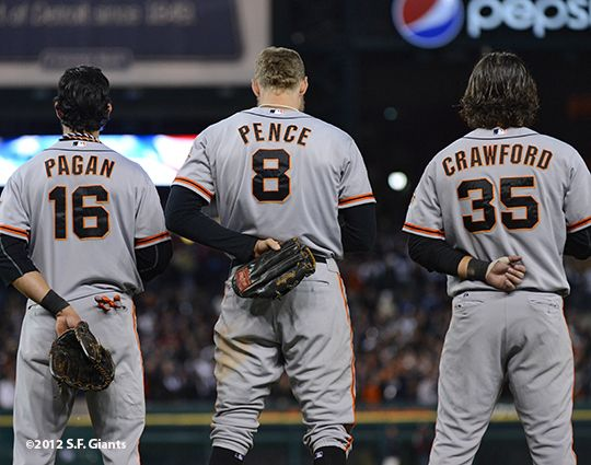 Angel Pagan, Hunter Pence & Brandon Crawford.
