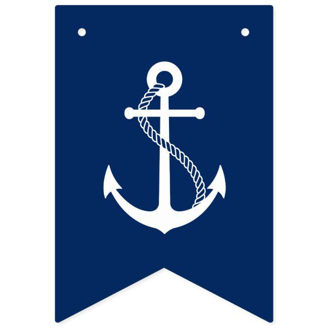 Nautical Navy Blue With White Anchor Bunting Flags Affiliate Spon White Anchor Bunting Blue In 2020 Bunting Flags Graphic Design Branding Flag Design