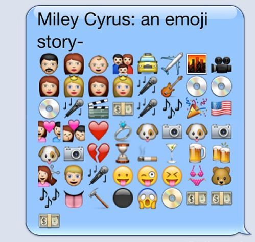 Tastefully Offensive on Tumblr, The biography of Miley Cyrus in emoji. [via]