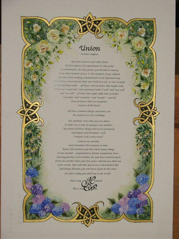 Illuminated Calligraphy Made to Order - Commission Sample - Floral Border (2013)