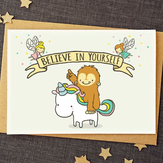 Funny Good Luck Card - Believe In Yourself - Unicorn Card - Cute Cards…