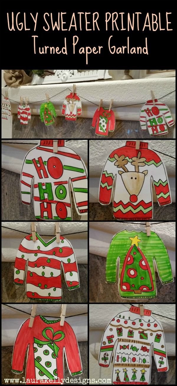 Ugly Sweater Garland with Free Printable   Laura Kelly's Inklings