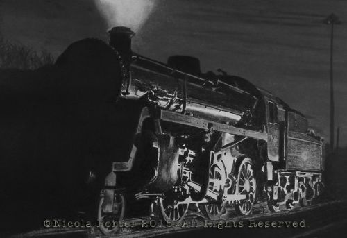 """76084 by night"" drawing - A4 print £20 - BR standard 4MT Steam Locomotive designed by Robert Riddles and built in 1957.  Please note that you are buying a Limited Edition print of my drawing, not the original  Prints will be signed, numbered and professionally mounted."