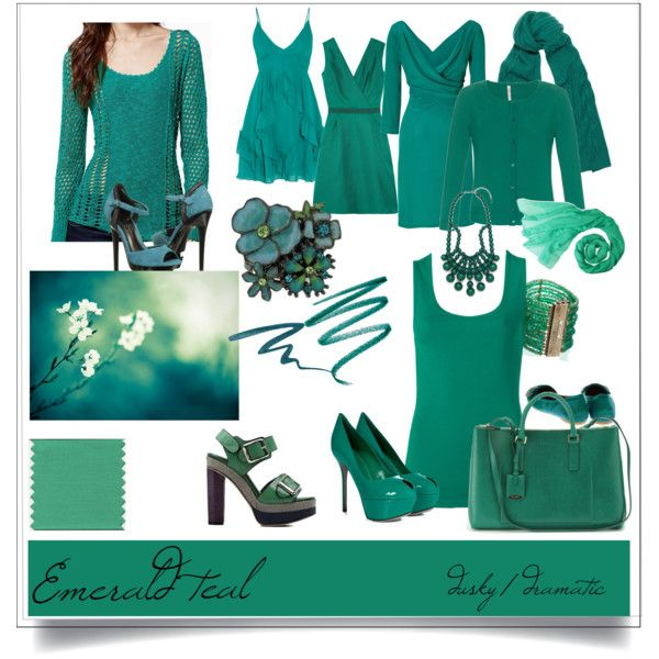 Dramatic: dusky emerald teal by springfellow on Polyvore featuring beauty, Sue Devitt, Smashbox, N.Peal Cashmere, Hermès, 1928, Rosantica, BaubleBar, Jil Sander and Alberta Ferretti