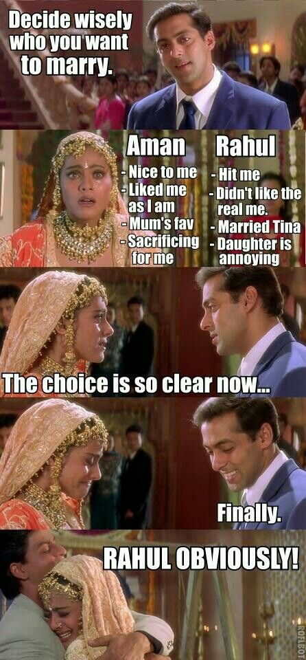 I still think she should've married Aman. Rahul was a Shallow Hal and only liked her when she grew out her hair and started selling out with makeup and fancy clothes