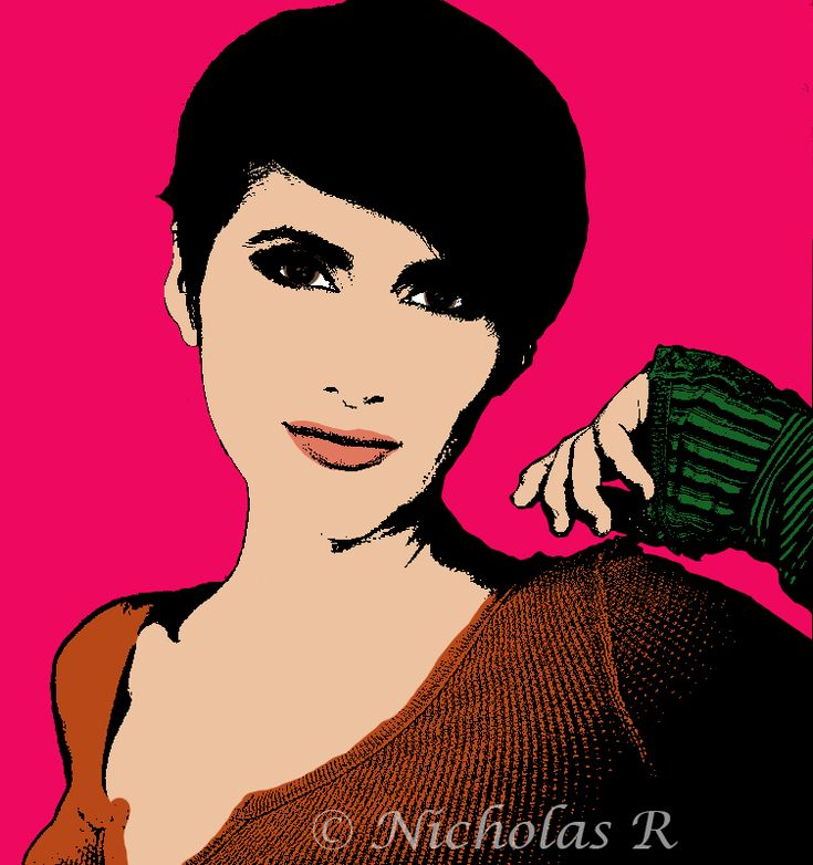 Pop Art style portrait of voice actor Cristina Valenzuela / Cristina Vee. Created for Digital Imagery for the Fine Artist at Palm Beach State College.