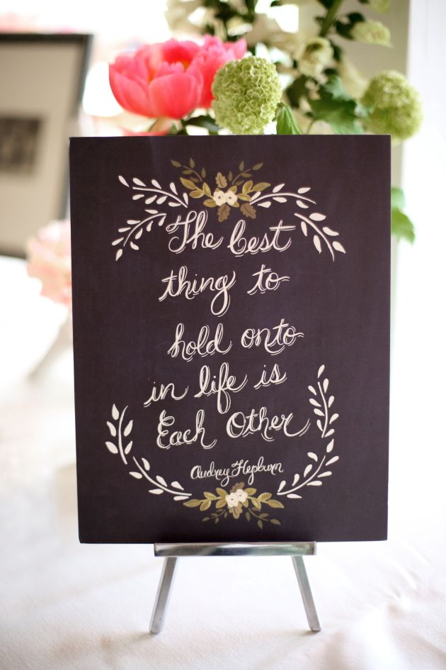 tthis lovely saying by Audrey Hepburn was on the guest book table that also included also this table were family wedding photos from different era's great idea. via: bridal musings