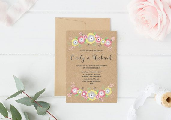 This floral wedding invitation is perfect for couples looking for something romantic and rustic for their wedding. Its also perfectly suited for spring and summer weddings! The design is printed on kraft paper and comes with envelopes (either kraft paper or white textured paper). The invitation colours can be changed to suit your wedding colours.  Matching Save the Date https://www.etsy.com/uk/listing/514202689/floral-save-the-date-rustic-save-the?ref=shop_h...