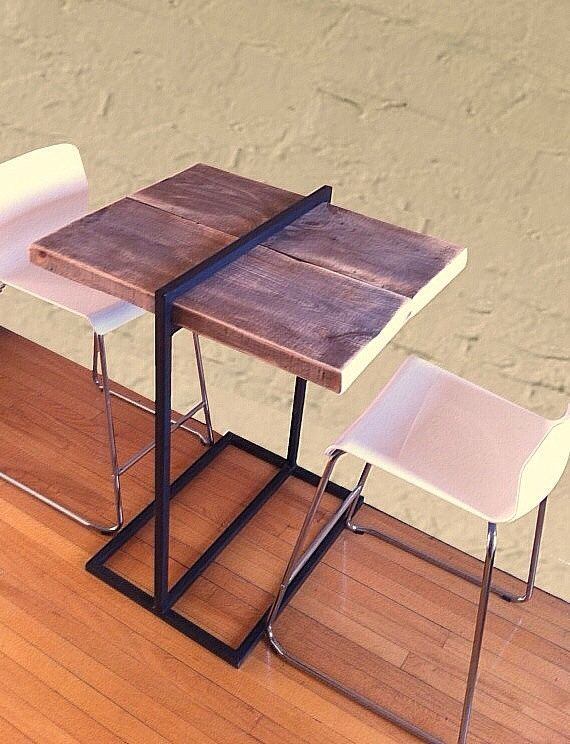 Reclaimed Wood and Steel Bistro Table
