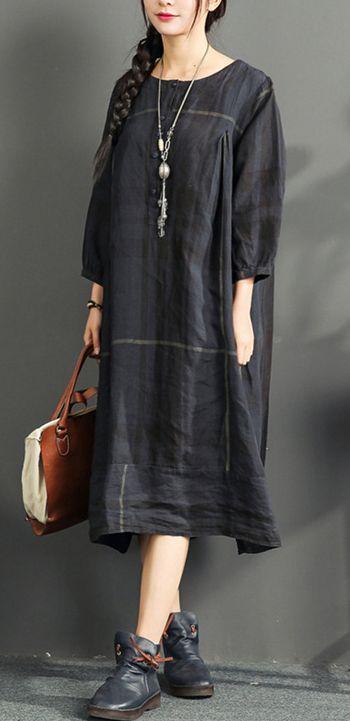 black summer dresses plaid plus size linen dresses bracelet sleeved women dress