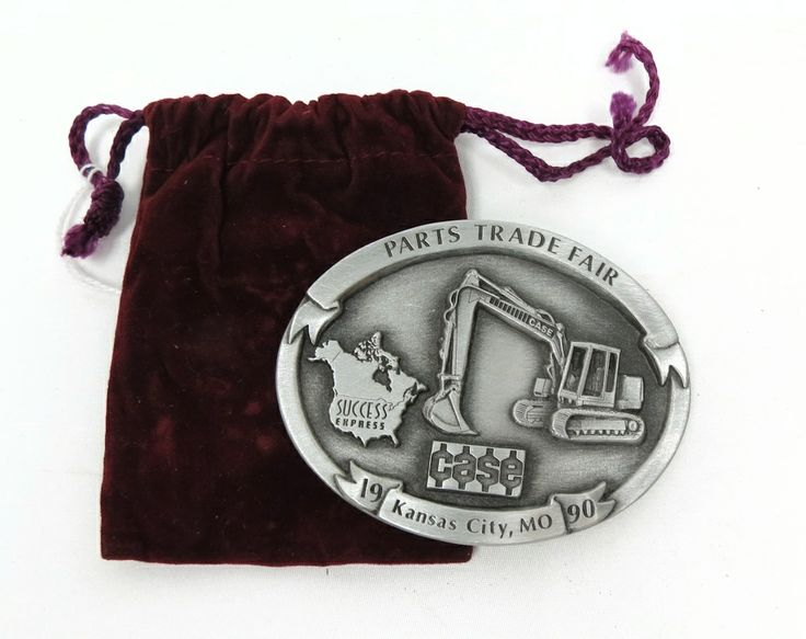 Pewter Oval Buckle with Case Excavator, 1990 Parts Trade Fair