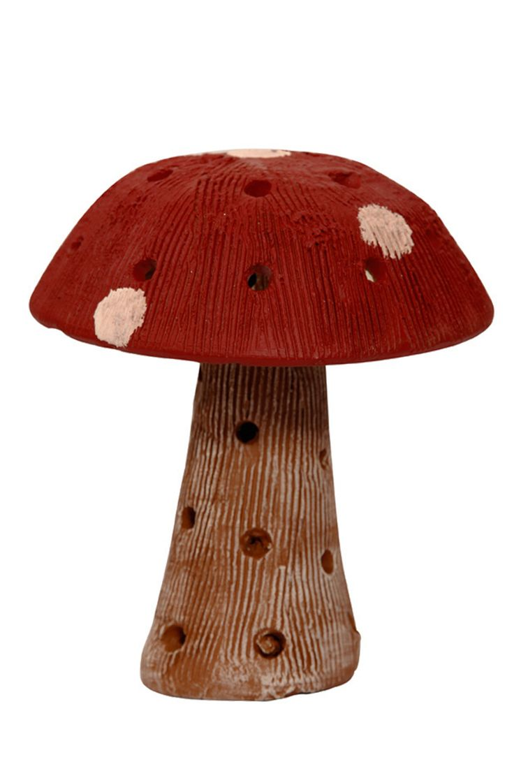 The terracotta hand painted dark #red mushroom is an ideal piece of décor for your #garden, #balcony or living #room.