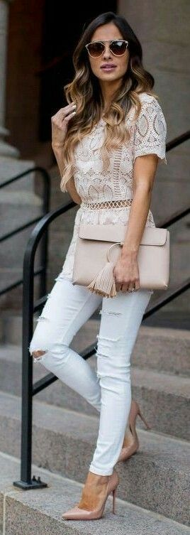 Blush lace top , blush clutch bag, white ripped jeans  and nude heels. Outfit hunters.com