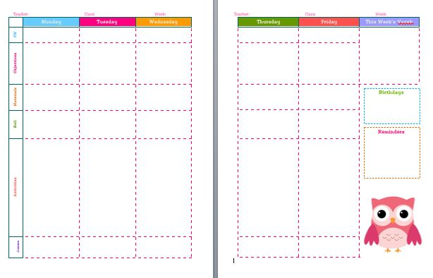 How cute and colourful 5 day lesson plan template free for Preschool classroom schedule template