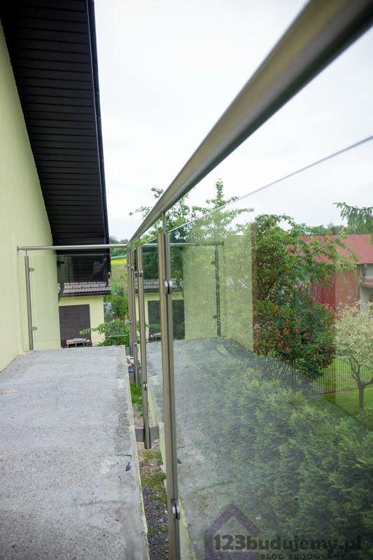 nowoczesny balkon #balustrada z nierdzewki szklana balustrada balkon - Balkon, Poddasze, Barierka, Podjazd, Dom, Balustrada, Elewacja, Tynk, Szklana Balustrada, Balustrada Nierdzewna