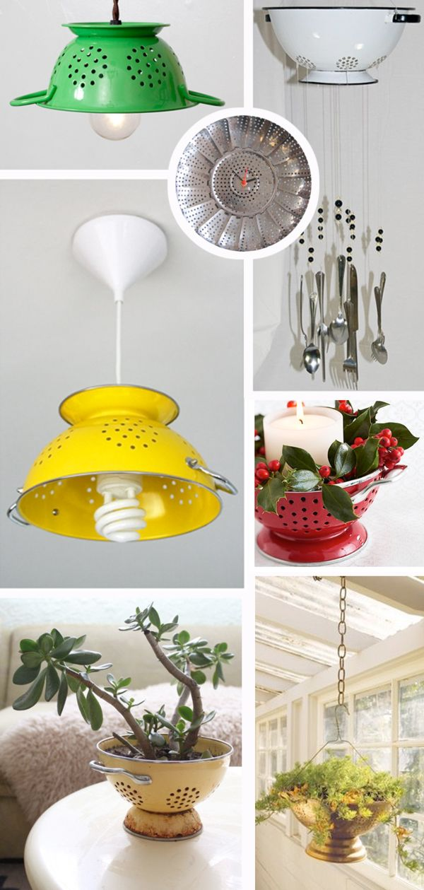 many uses for colanders (strainers) -- upcycle it!