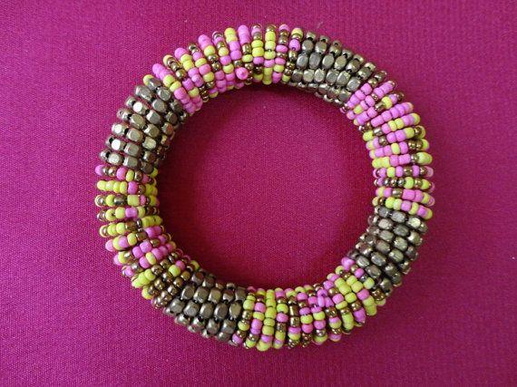 Colorful beaded bracelet by OMyGlam on Etsy