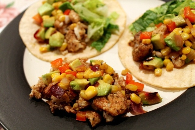 Tilapia tacos with roasted corn relish | To Eat. | Pinterest