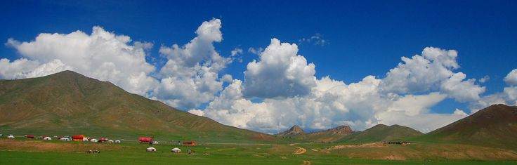 https://flic.kr/p/5ivcNb | Mongolia Landscape in Summer | The endless blue skies are unforgettable when you travel across Mongolia in the middle of summer.  The skies are free of pollution.  Nomadic families and their herds of horses make the most of the brief summer on the Mongolian Steppe / grasslands.  The grass is very green and the fields offer a lot of fodder for the animals.  The Mongolian people live in yurt tents, which can be moved when they need to move to more favourable areas in…