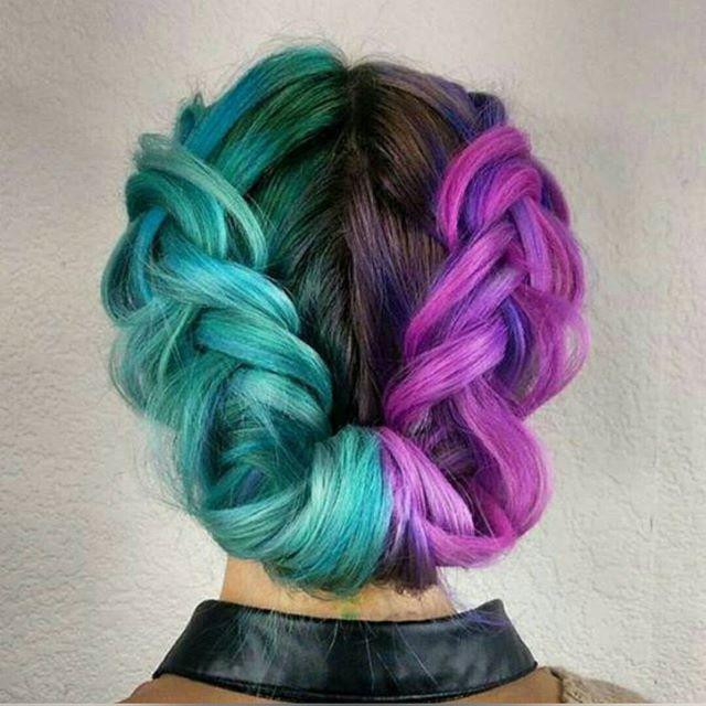 Hair inspo!✔ #InspirateStyle #Hair #HairInspo #Braid #Braids #ColoredHair #Purple #PurpleHair #Mint #MintHair #Mermaid #MermaidHair #InstaHair