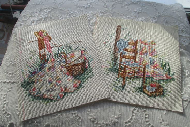 "Paula Vaughan ""Summers Remembered"""" Pink Ribbon""and ""Blue Bonnet"" Completed Cross Stitch, Paula Vaughan Cross Stitch, Leisure Arts # 392 by MyGrandmothersHouse on Etsy"