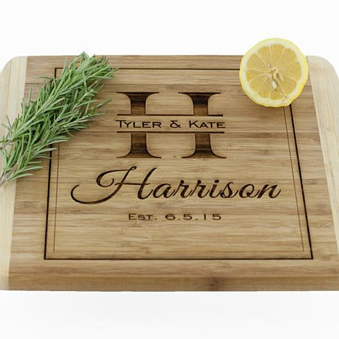Personalized Large Bamboo Wood Cutting Board - Harrison Style